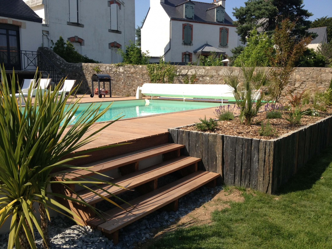 Am nagement d 39 un jardin avec terrasse en bois vannes 3d paysage - Jardin cloture amenagement ...